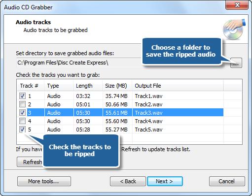 Choose Output Location & Audio Tracks